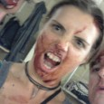 Some nice zombie shots from Lucy and her team, getting covered in fake blood in the player room.